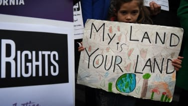 A young protester in favor of sanctuary cities.
