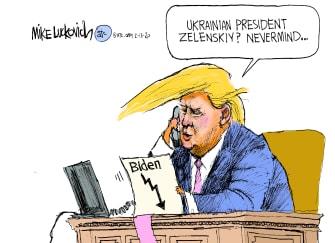 Political Cartoon U.S. Trump Ukraine Biden slump