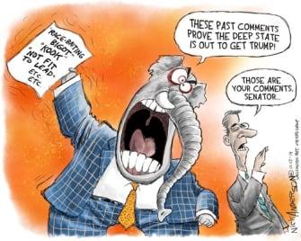 Political Cartoon U.S. GOP Senate Comments Impeachment