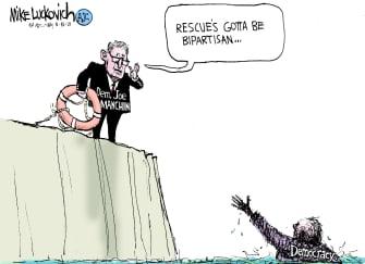 Political Cartoon U.S. joe manchin bipartisanship