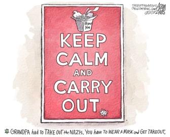 Editorial Cartoon U.S. Keep Calm and Carry on COVID WWII