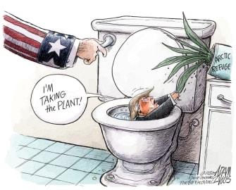 Political Cartoon U.S. Trump Arctic Wildlife Refuge