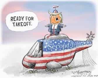 Political Cartoon U.S. Trump loss second term