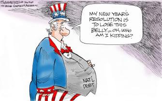 Political Cartoon U.S. National Debt New Years Resolution Belly Fat
