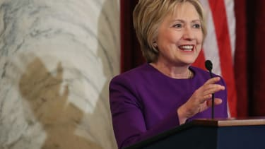 Hillary Clinton at the  portrait unveiling ceremony for outgoing Senate Minority Leader Harry Reid in December, her last time in D.C.