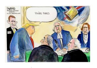 Political Cartoon U.S. Trump founding fathers