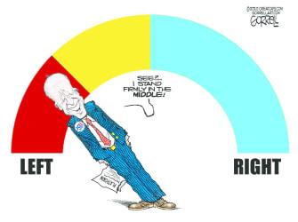 Political Cartoon U.S. Biden left liberal
