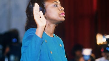 Anita Hill takes the oath for the Clarence Thomas hearings in 1991.