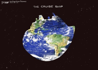 Editorial Cartoon World coronavirus infested cruise ship