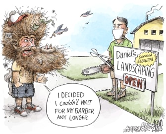 Editorial Cartoon U.S. coronavirus quarantine salons landscaping