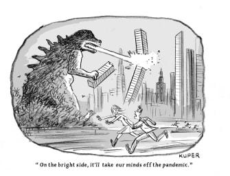 Editorial Cartoon U.S. Godzilla attacks mind off pandemic