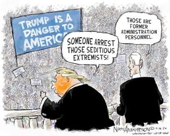 Political Cartoon U.S. Trump Pence formerofficials
