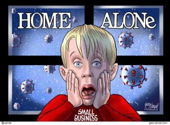 Political Cartoon U.S. Home Alone Coronavirus small business bailout quarantine