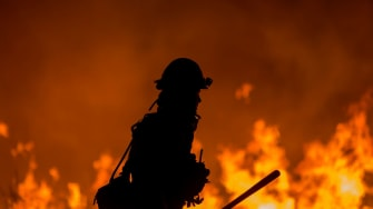 A firefighter at the Thomas Fire.
