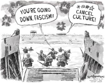 Editorial Cartoon U.S. D Day WWII cancel culture