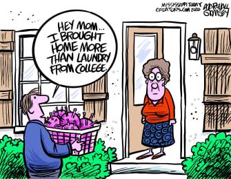 Editorial Cartoon U.S. COVID college