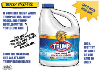 Political Cartoon U.S. Trump bleach coronavirus wacky packages