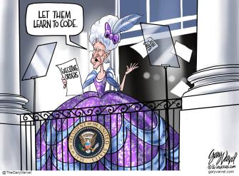 Political Cartoon U.S. Biden marie antoinette jobs
