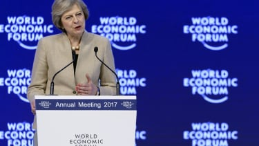 Theresa May speaks at the World Economic Forum