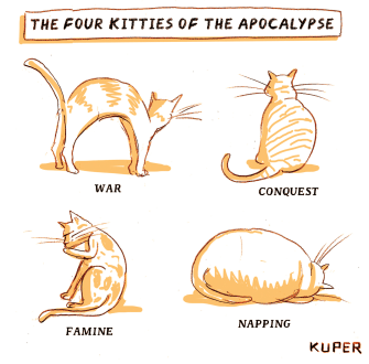 Editorial Cartoon U.S four cats of the apocalypse war conquest famine napping