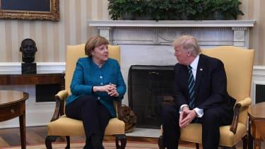 Trump and Merkel met earlier this month.