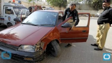 The crime scene in Karachi, Pakistan.
