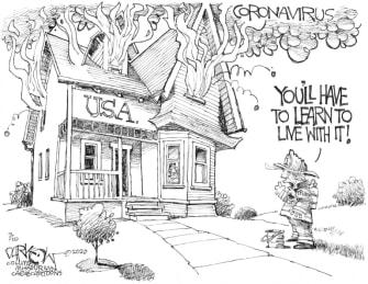 Political Cartoon U.S. Trump coronavirus response