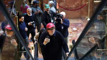 Michael Moore inside Trump Tower.