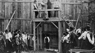 Moments before a hanging in 1896.