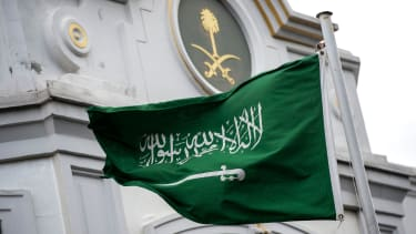 The Saudi Arabian flag in front of the Saudi consulate in Istanbul.
