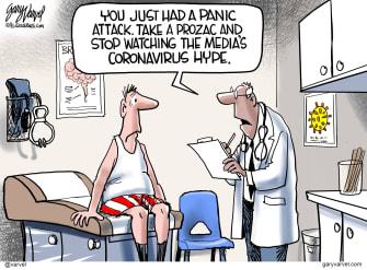 Editorial Cartoon World Keep Calm coronavirus dont touch face