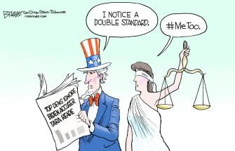 Political Cartoon U.S. double standard top dems ignore Biden sexual assault MeToo