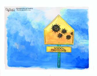 Editorial Cartoon U.S. Coronavirus School Crossing Reopening Debate COVID-19 Pandemic