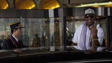 Dennis Rodman outside a Pyongyang hotel.