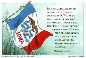 Political Cartoon U.S. Pledge of allegiance Iowa Caucus