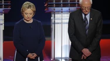 2016 presidential candidates Hillary Clinton and Bernie Sanders.