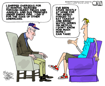 Editorial Cartoon U.S. generational sacrifices world wars Vietnam Millenials binge watching takeout coronavirus