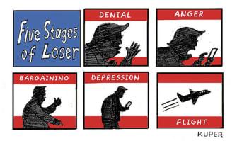 Political Cartoon U.S. Trump loss stages
