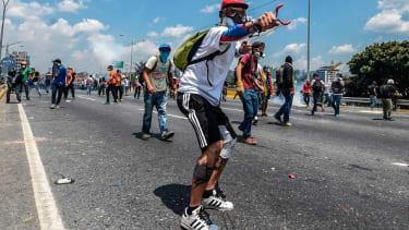 Anti-government protesters in Venezuela.