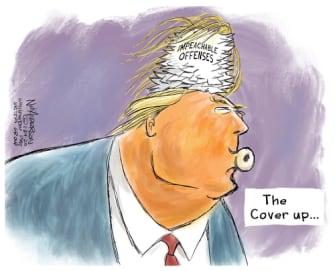 Political Cartoon U.S. Trump impeachment trial hair piece cover up