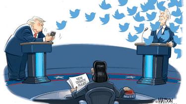Political Cartoon U.S. Trump Biden debate interruptions