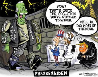 Political Cartoon U.S. Trump Biden coalition Frankenstein