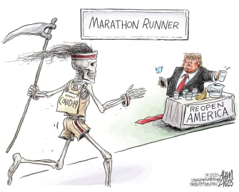 Political Cartoon U.S. Trump coronavirus marathon water