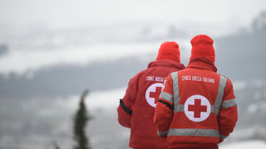 Rescuers in Italy.