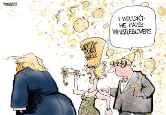Political Cartoon U.S. Trump Happy New Year Whistleblowers