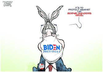 Political Cartoon U.S. democrats Bernie virus coronavirus
