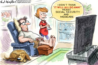 Political Cartoon U.S. Coronavirus COVID-19 Go Away Social Security Medicare