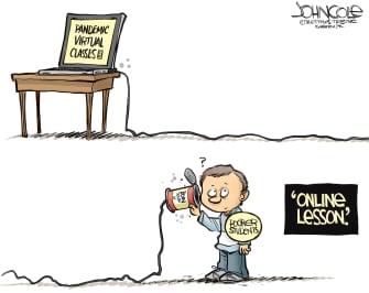Editorial Cartoon U.S. poorer students lack internet access online schooling disadvantages