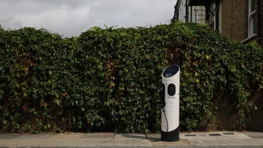 An electric car charging station in London.