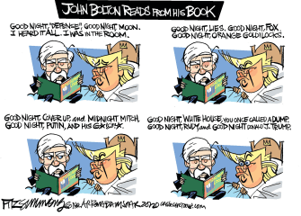 Political Cartoon U.S. Trump John Bolton Mitch McConnell Fox impeachment book Good Night Moon